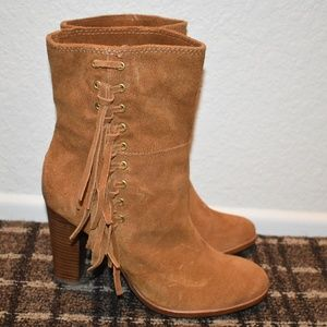 Coach Saddle Brown Fringe Suede Booties - 9.0